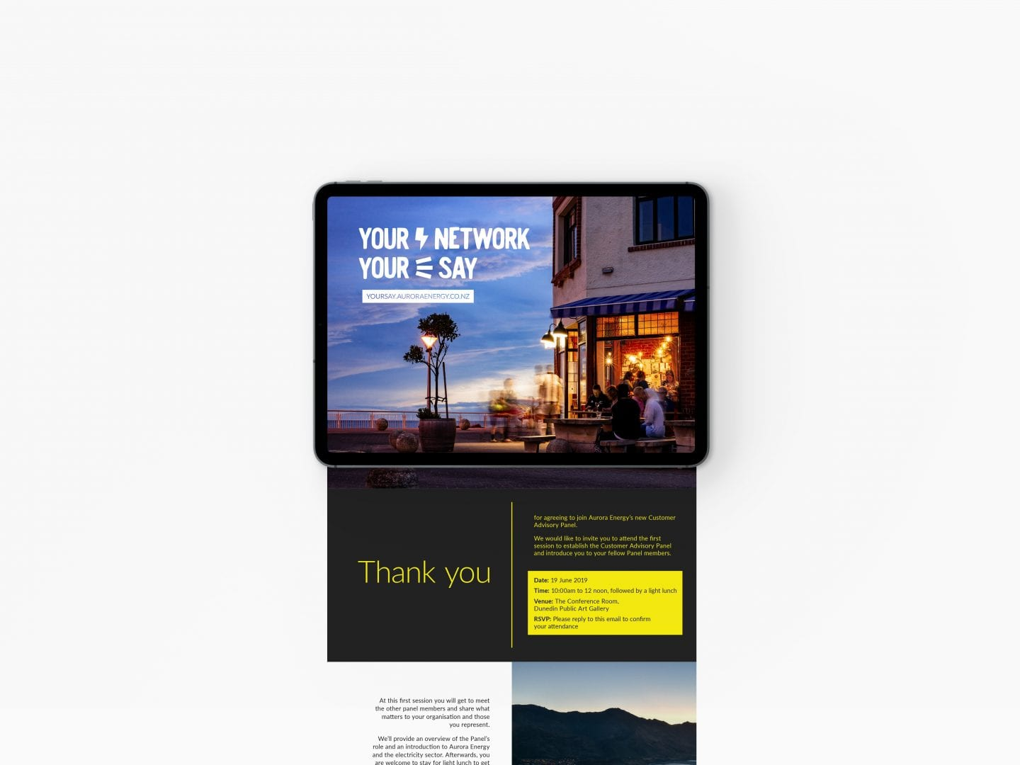 Fuel Agency Aurora Energy blog email mockup